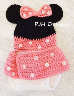 Minnie Mouse hand crochet baby infant girl by PeggyJHaleDesigns