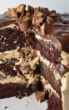 Recipe for Chocolate Peanut Butter Cup Overload Cake - Overload definitely describes this ridiculously amazing cake.