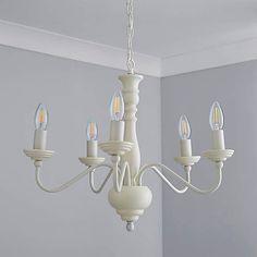 Alosno 5 Light Candelabra White Ceiling Fitting | Dunelm Chandelier Bedroom, White Chandelier, Single Bedroom, White Ceiling, Candelabra, Bulb, Ceiling Lights, Candles, Elegant