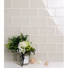 Premium Series 3 inch x 6 inch Glass Subway Tile in Ivory - 5 square feet carton, Size: 12 inch x 12 inch, White Glass Subway Tile Backsplash, White Kitchen Backsplash, Subway Tile Kitchen, Glass Tile Bathroom, Subway Tiles, Wallpaper Backsplash Kitchen, Contemporary Kitchen Backsplash, Concrete Bathroom, Shower Tiles