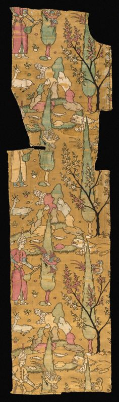 Textile Length with Standing Figures and Cypress Trees Iran, circa 1550 Textiles; textile lengths Compound satin weave silk (lampas) 14 x 52 1/2 in. (35.56 x 133.35 cm)
