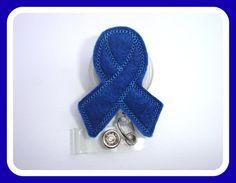 Retractable Badge Holder - dark royal blue ribbon badge reel - colon cancer awareness - medical staff nurse