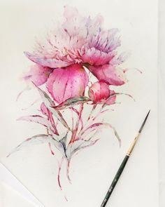 """""""Peonies in watercolor Но хочу немного надоесть вам текстом в эти выходные ⬇️ Вдруг я неправа, но на данный момент уверенно считаю, что цвет в живописи…"""""""