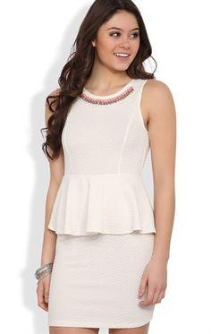 Deb Shops Texture Knit #Peplum #Dress with Stone Neckline $27.67