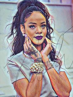 Rihanna Sketch Drawing Illustration Wall Art Card Matte PRINT Colorful Drawings, Rihanna Drawing, Celebrity Drawings, Art Girl, Black Girl Art, Art, Celebrity Art, Portrait, Black Love Art