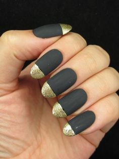 Matte black and gold glitter  Nail Art   Look What I'm Wearing