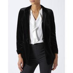 Monsoon Alicia Velvet Blazer (8.005 RUB) ❤ liked on Polyvore featuring outerwear, jackets, blazers, blazer jacket, shoulder pad jacket, monsoon jackets, ruched-sleeve blazers and velvet jackets