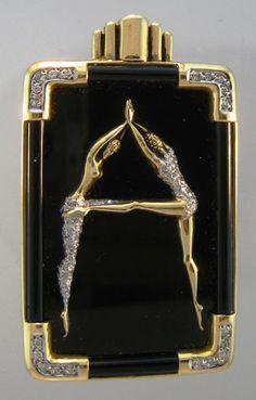 Art Deco Erte  Diamond, Yellow Gold and Black Enamel Pin. See also my Erte board. :)