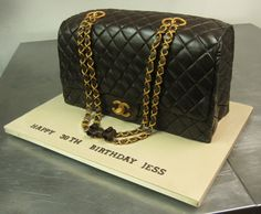 An exceptionally well done Chanel Bag Birthday Cake! Courtesy of City Cakes NY