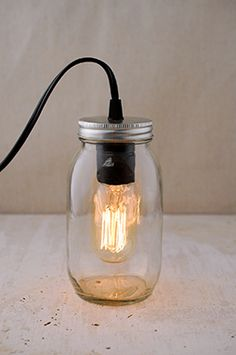12.99 SALE PRICE! Add antique charm to your home, or use the Mason Jar light with Edison Bulb to give your wedding an industrial accent. The quart sized Maso...
