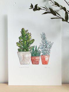 Cactus afdrukken. Sappige art print. Cactussen en vetplanten