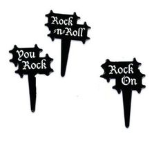 Amazon.com: Rock n Roll Cupcake Picks - Set of 12: Kitchen & Dining
