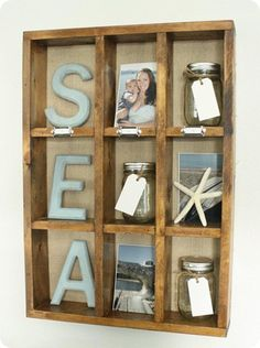 another great decor idea! this is where i'll put my beach photos, some dried sea finds and my bottled beach memories! :> ~Anny - I second this Anny!