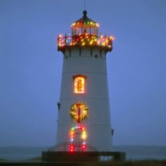 Martha's Vineyard lighthouse decorated for Christmas