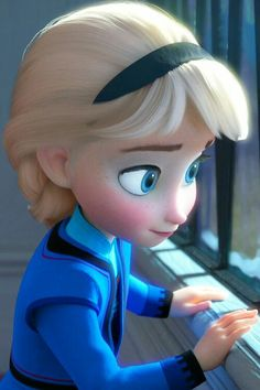 Elsa, probably watching the village kids play, while she's stuck in her room.