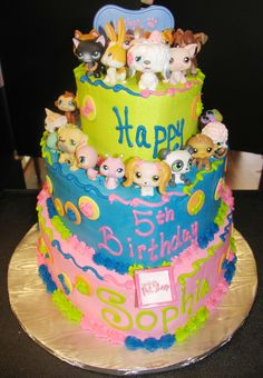 Custom designed Littlest Pet Shop themed Cake for my Daughter's 5th Birthday