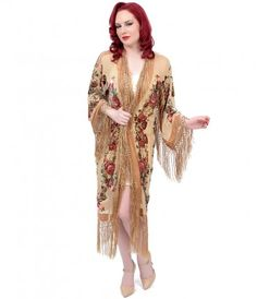 Summon your inner show girl, dolls! This intricate 1920s ornate scarf coat is a gorgeous beaded burn out English rose in...Price - $200.00-OfRGRNCW