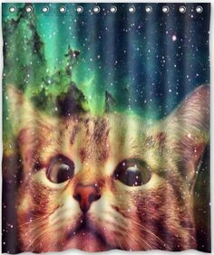Cool Shower Curtains Cat and Sky