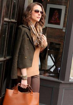 tan/camel sweater, brown pants, olive jacket