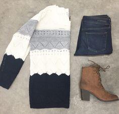 Autumn Trio Sweater {Gray + Navy}