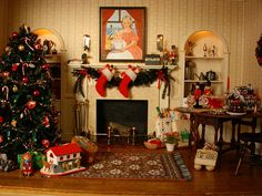 miniatures+Christas+r.ooml | This Christmas roomwas created by Bill and Peggy Birkemeier. It ...