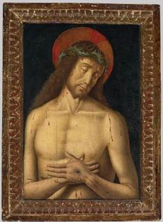 SANTI, Giovanni (b. ca. 1435, Colbordolo, d. 1494, Urbino)   Click! Christ as the Man of Sorrows  - Oil on panel, 35 x 24 cm (without frame) Private collection  Giovanni Santi's work was greatly influenced by contemporary Flemish painters whose works he would have encountered at the court in Urbino. In the present painting the influence of Dieric Bouts the Elder can be observed.