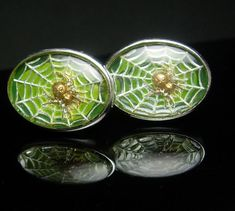 Vintage Spider web cufflinks Green looks so by NeatstuffAntiques