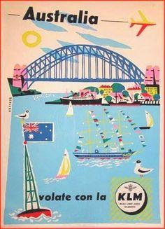 Australia vintage travel poster for KLM Airlines