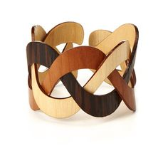 UncommonGoods Trinity Wooden Cuff (€41) ❤ liked on Polyvore featuring jewelry, bracelets, wooden jewelry, cuff bangle, braid jewelry, wood jewelry and wooden bangles