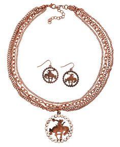 Copper-Tone Bronco Rider Pendant Necklace & Earrings Set