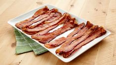 Bacon cooked in the oven.