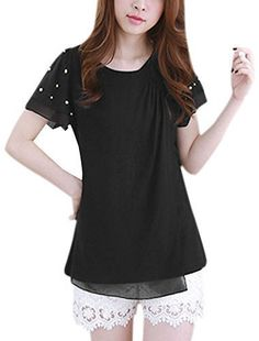 Pull Femmes Manches Courtes Col Rond Stratifié Perles Décontracté Chemisier: International taille : XS; taille US: XS(US 2) 100% polyester…
