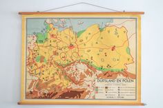 Original Vintage Dutch Map of Germany and Poland