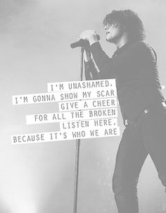 """""""I'm just a man, I'm not a hero, I'm just a boy who had to sing this song. I'm just a man, I'm not a hero.... I. DON'T. CARE!"""" - Welcome to the Black Parade by MCR <<< I love this song <3"""