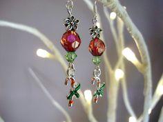 Candy cane earrings, christmas earrings, Tibetan silver earrings, beaded earrings, xmas earrings, christmas jewellery - by Tamara Harris by THWoodlandCreatures on Etsy