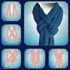 Great way to tie a scarf! I'm using this the next time I knit a nice scarf. If I'm gifting the scarf, I'll add sketches of this (and some other scarf knots) to the card. Fashion Beauty, Womens Fashion, Fashion Tips, Diy Fashion, 1950s Fashion, Vintage Fashion, Style Fashion, Fashion Hacks, Fashion Ideas