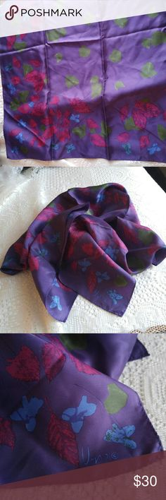 Vtg Vera Neumann scarf large square purple This gorgeous vintage scarf is by Vera Neumann. It is made of silky 100% acetate. The color is deep plum purple with a pretty floral print. This scarf is in amazing condition, almost new looking. From a smoke free home :)     POSHG8825VERA888 Vintage Accessories Scarves & Wraps