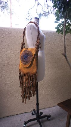 Vintage 1960s Brown Leather Fringed Hippie, Vintage Handmade, Blue Beaded Design, Hippie Chic Purse