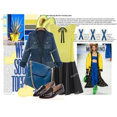 blue and yellow by walkthisland on Polyvore featuring Moschino and tinydeal