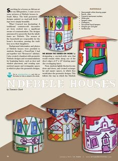 Arts & activities african art projects, african crafts kids, african art for kids, African Art Projects, African Crafts, African Art For Kids, African Hut, Art Lessons Elementary, Elementary Schools, Afrique Art, 4th Grade Art, Thinking Day