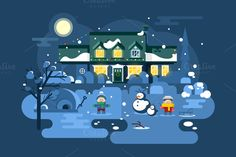 Winter night children play ~ Illustrations on Creative Market
