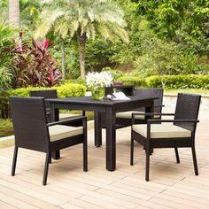 Outdoor Crosley Palm Harbor 5 Piece Wicker Patio Dining Set - KO70059BR