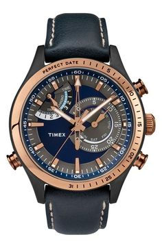 Timex® 'Intelligent Quartz' Leather Strap Watch, 46mm available at #Nordstrom