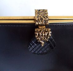 Rare 60s Kelly Bag Art Deco handbag Coret Black Leather Antique Gold Filigree Bakelite lucite Pineapple clasp Top Handle Retro Mod Purse by MushkaVintage3 on Etsy