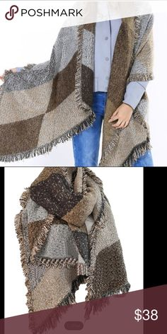 "Blanket Shawl Cape Wrap - Light/dark brown & gray Wrap up in this warm soft cozy acrylic blanket shawl in color blocks of light & dark brown & gray. Can be worn on either side. One size fits all. Approx. width 35.4"" length 80.7"". New w/o tags, unbranded. Jackets & Coats Capes"