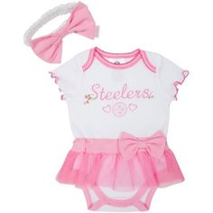 Steelers Baby Pink Skirted Onesie & Headband Set is so sweet in 0-3, 3-6 months only $14.99 for set at Mommy Gear:  http://www.mommygear.com/steelers-pink-skirted-onesie-headband-set.htm