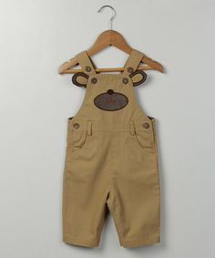 Another great find on #zulily! Beige Doggy Overalls - Infant, Toddler & Boys #zulilyfinds