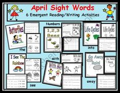 April Sight Word Bundle: 6 Emergent Readers with Writing Response Sheets Targets the, into, away, with, see from Can You Read It on TeachersNotebook.com -  (84 pages)  - http://www.teachersnotebook.com/product/CanYouReadIt/april-sight-word-bundle-6-emergent-readers-with-writing-response-sheets-targets-the-into-away-with-see This is not your typical April worksheet pack.  Use these materials to bundle more than 30 CCSS lit