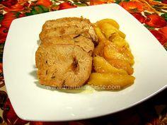 Lonza di maiale in padella con le mele come contorno