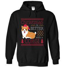 Christmas Is Better With A Corgi [Short-tailed Version] - #vintage tee #sweatshirt hoodie. BUY NOW => https://www.sunfrog.com/Pets/Christmas-Is-Better-With-A-Corgi-3-9375-Black-Hoodie.html?68278